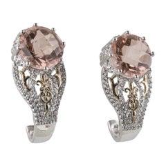Sterling SIlver Morganite and White Topaz Dangle Earrings