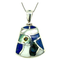 Sterling Silver Mother of Pearl and Abalone Pendant