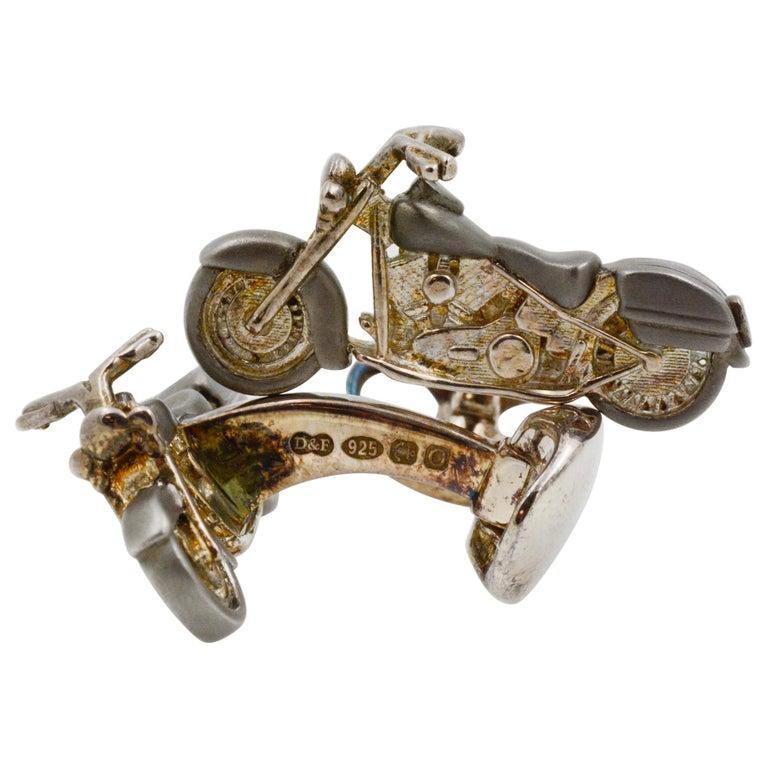 Sterling Silver Motorbike Cufflinks For Sale