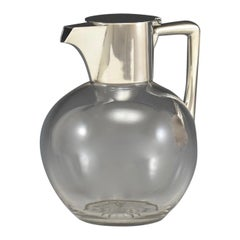 Sterling Silver Mounted Glass Claret Jug, Hallmarked London 1892