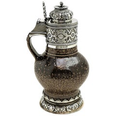 Sterling Silver Mounted Tigerware Jug 1920 Elizabethan, 16th-17th Century Style