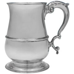 George III Antique Sterling Silver 'Quart' Mug by John King in 1771