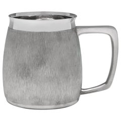 Mid Century Modern Bark Effect Sterling Silver Mug by C. J. Vander