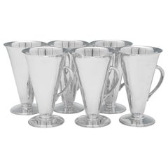 Art Deco Design Sterling Silver Set of 6 Mint Julep Cups by Asprey & Co. 1936