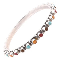 Sterling Silver Multi-Gemstone Bangle Bracelet