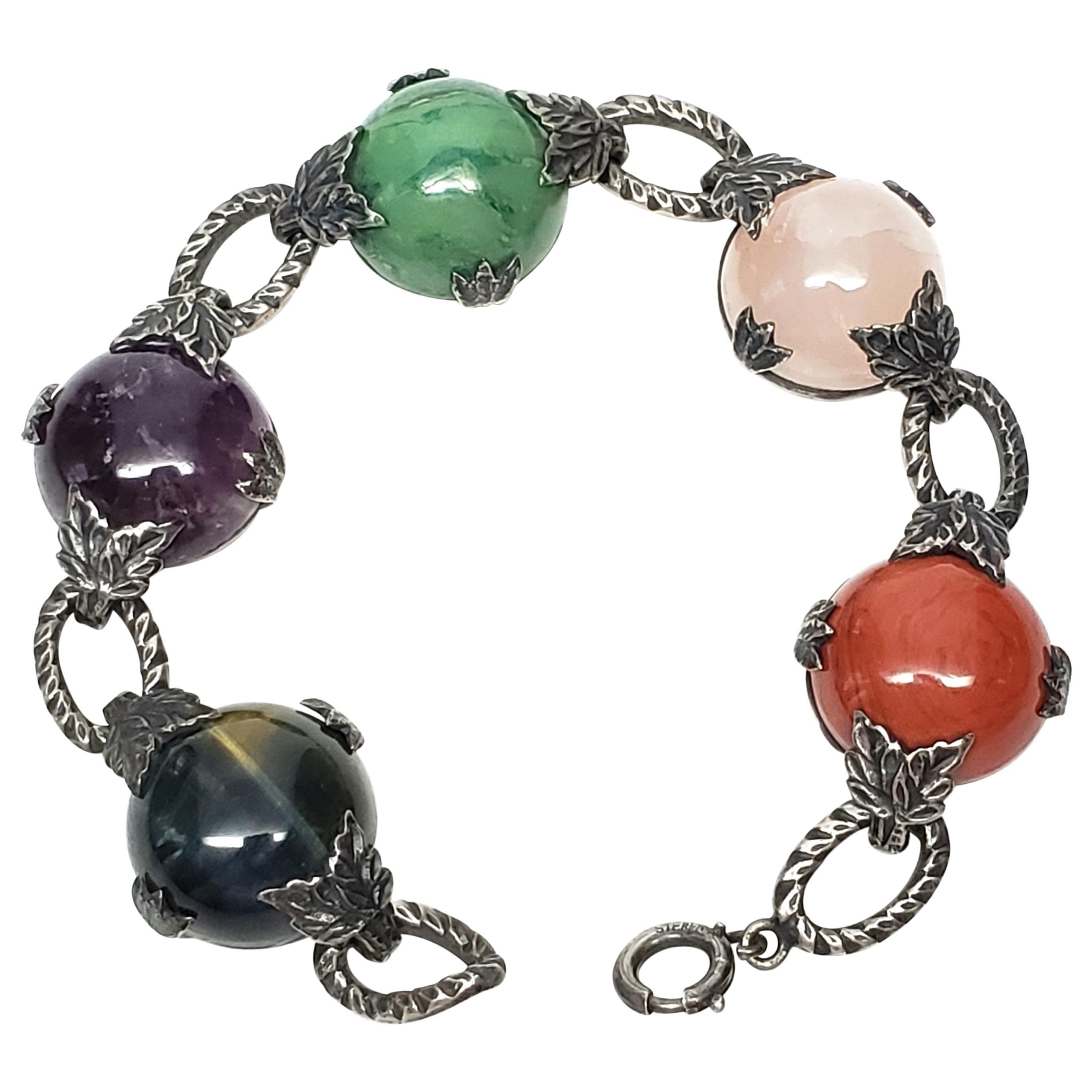 Sterling Silver Multi-Stone Link Bracelet