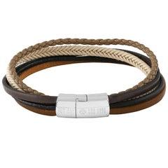 Sterling Silver, Multi Strand, Leather Bracelet