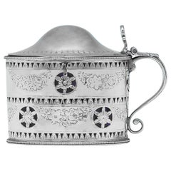Hester Bateman George III Antique Sterling Silver Mustard Pot from 1787