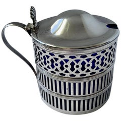 Sterling Silver Mustard Pot with a Cobalt Blue Glass Liner by  Webster Co.