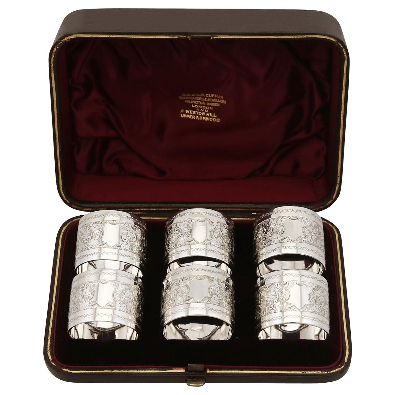 19th Century Sterling Silver Napkin Rings Set of Six Antique Victorian 1889
