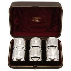 Sterling Silver Napkin Rings Set of Six Antique, Victorian, 1889