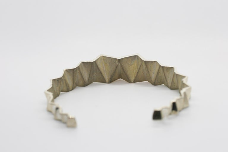 Sterling Silver Narrow Tapered Folded Triangles Cuff  In New Condition For Sale In West Hollywood, CA
