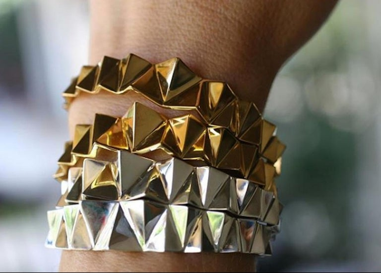 Women's or Men's Sterling Silver Narrow Tapered Folded Triangles Cuff  For Sale