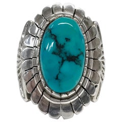 Sterling Silver Natural Candelaria Turquoise Ring