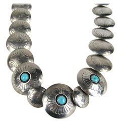 Sterling Silver Navajo Disc Necklace Turquoise - Coral Reversible Necklace