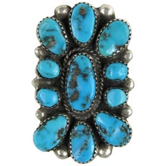 Sterling Silver Navajo Nugget Turquoise Ring - Native American
