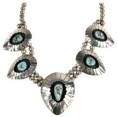 Sterling Silver Navajo Shadow Box Squash Turquoise Matrix Necklace