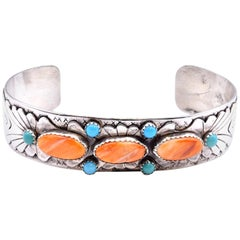 Sterling Silver Navajo Spiney Oyster and Turquoise Cuff Bracelet