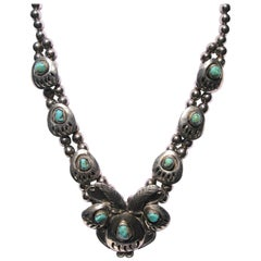 Sterling Silver Navajo Turquoise Shadow box Squash Blossom Style Necklace Bear