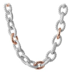"""Sterling Silver Necklace, 20"""", Rose Gold and Rhodium Finish"""