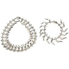 Sterling Silver Necklace and Charm Bracelet Set Vintage Signed