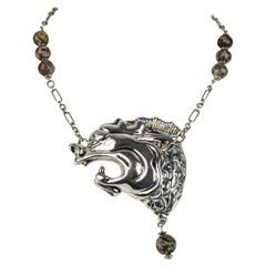 Sterling Silver Necklace Dragon FREDERIC JEAN DUCLOS ON WAX 1980s