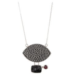 Sterling Silver Necklace with Lava and Garnet Stone