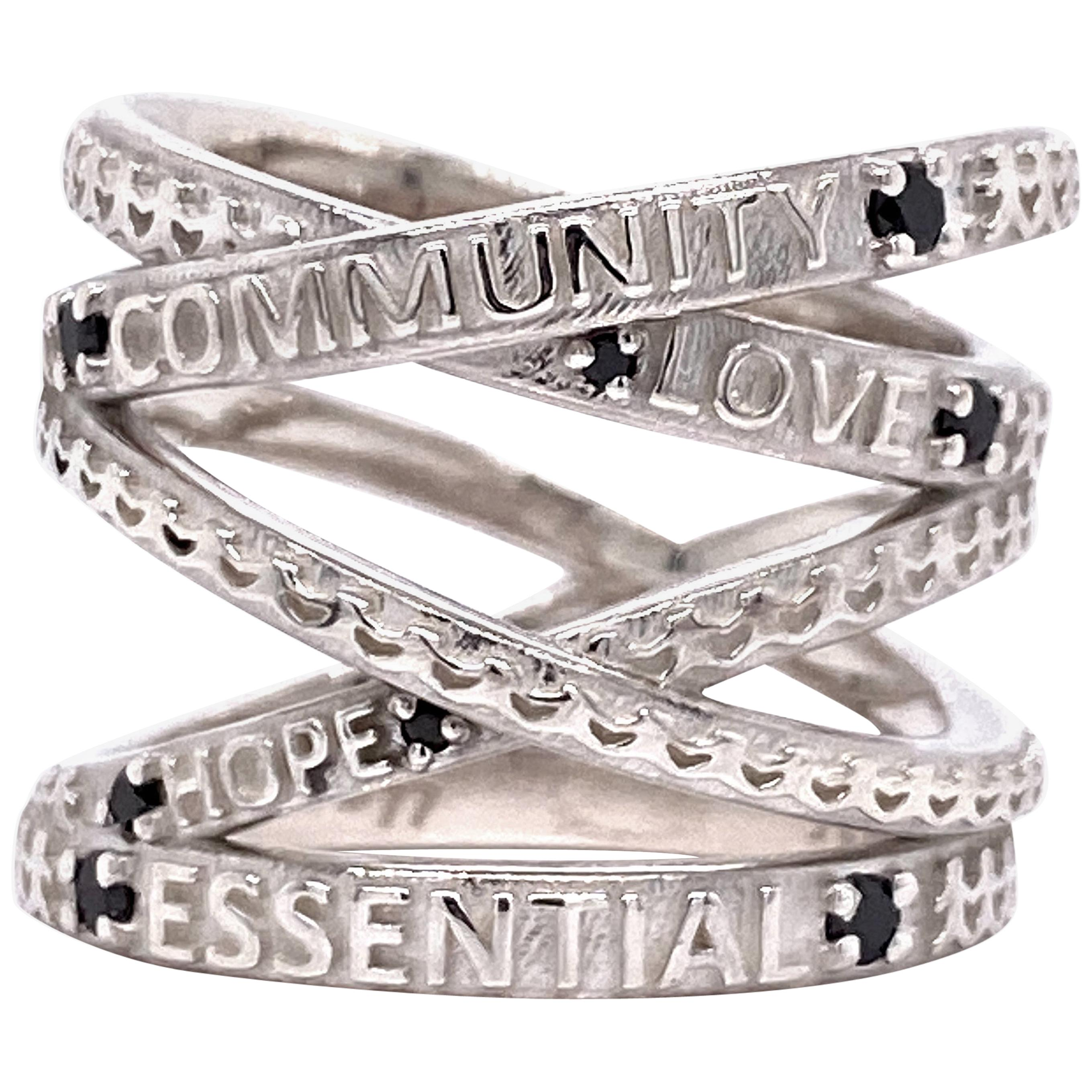 """Sterling Silver """"Not Non-Essential"""" Wrap Ring with Black Diamonds"""