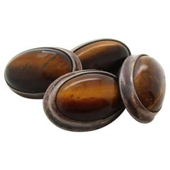 Sterling Silver Oval Cat's Eye Tiger's Eye Cufflinks