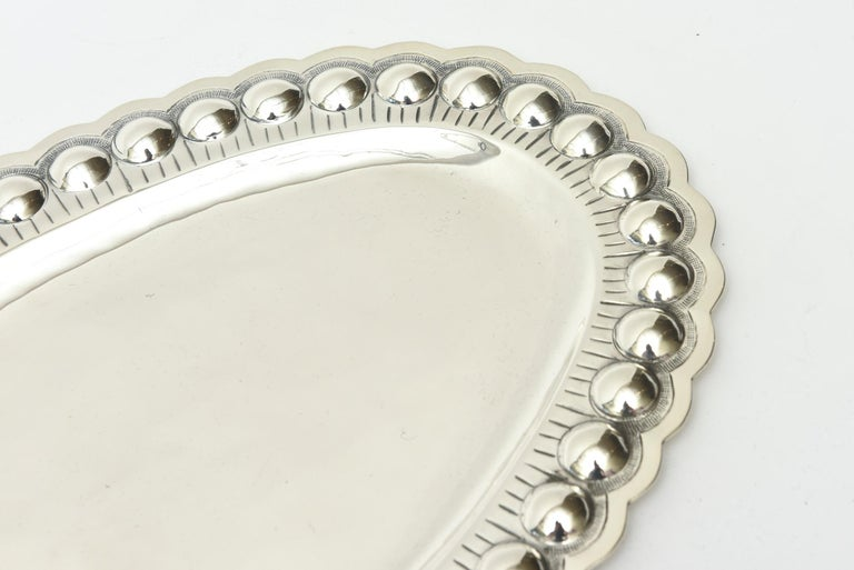 Mexican Sterling Silver Oval Platter or Tray Barware, Mid-Century Modern For Sale