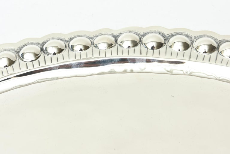 Sterling Silver Oval Platter or Tray Barware, Mid-Century Modern In Good Condition For Sale In North Miami, FL