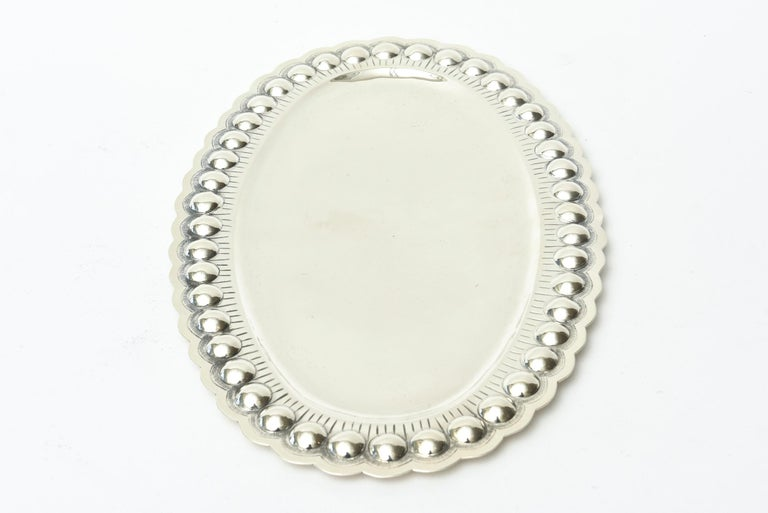 Mid-20th Century Sterling Silver Oval Platter or Tray Barware, Mid-Century Modern For Sale