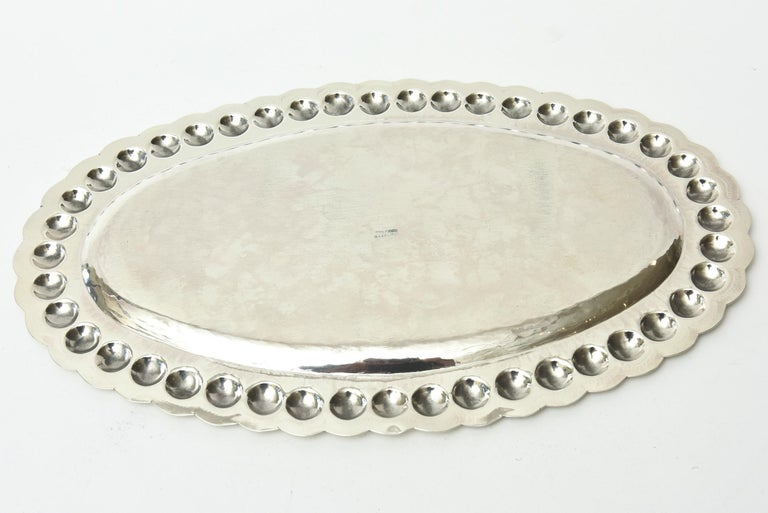 Sterling Silver Oval Platter or Tray Barware, Mid-Century Modern For Sale 3