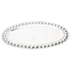 Sterling Silver Oval Platter or Tray Barware, Mid-Century Modern