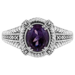 Sterling Silver Oval Shape Purple Amethyst Solitaire and Diamond Accent Ring