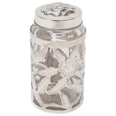 Sterling Silver Overlay Glass Vessel Lidded Jar Vintage