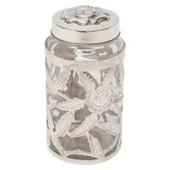 Sterling Silver Overlay Glass Vessel Lidded Vessel Vintage