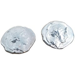 """Sterling Silver Pair """"Grecian Coin"""" of Cufflinks"""