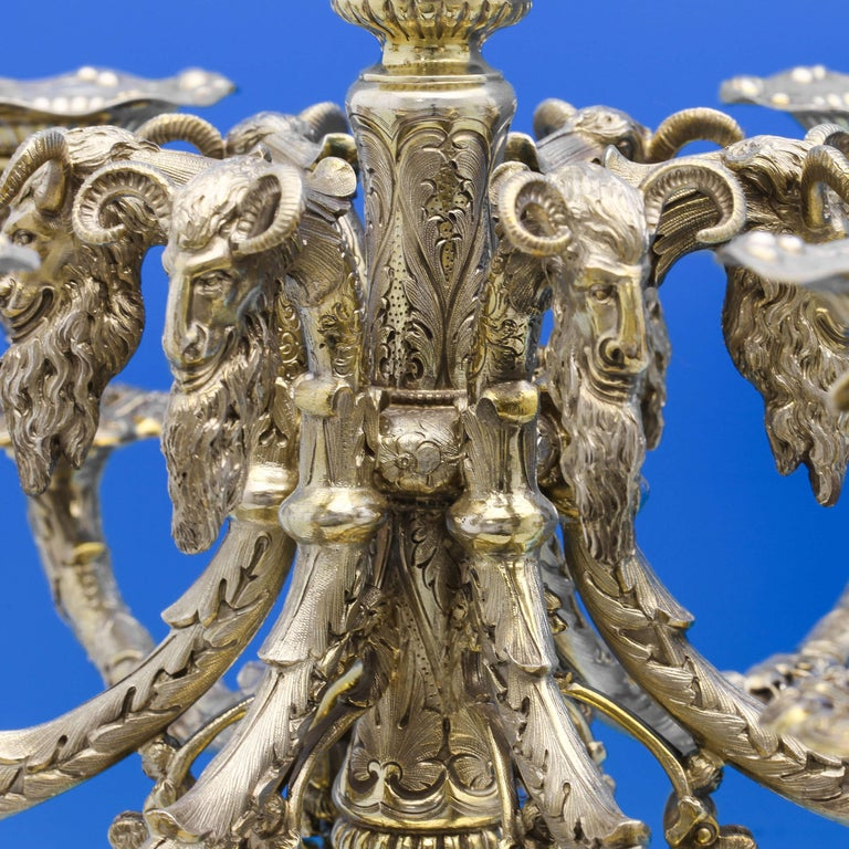 English Gothic Revival Antique Sterling Silver Pair of Candelabra by Alexander Macrae  For Sale