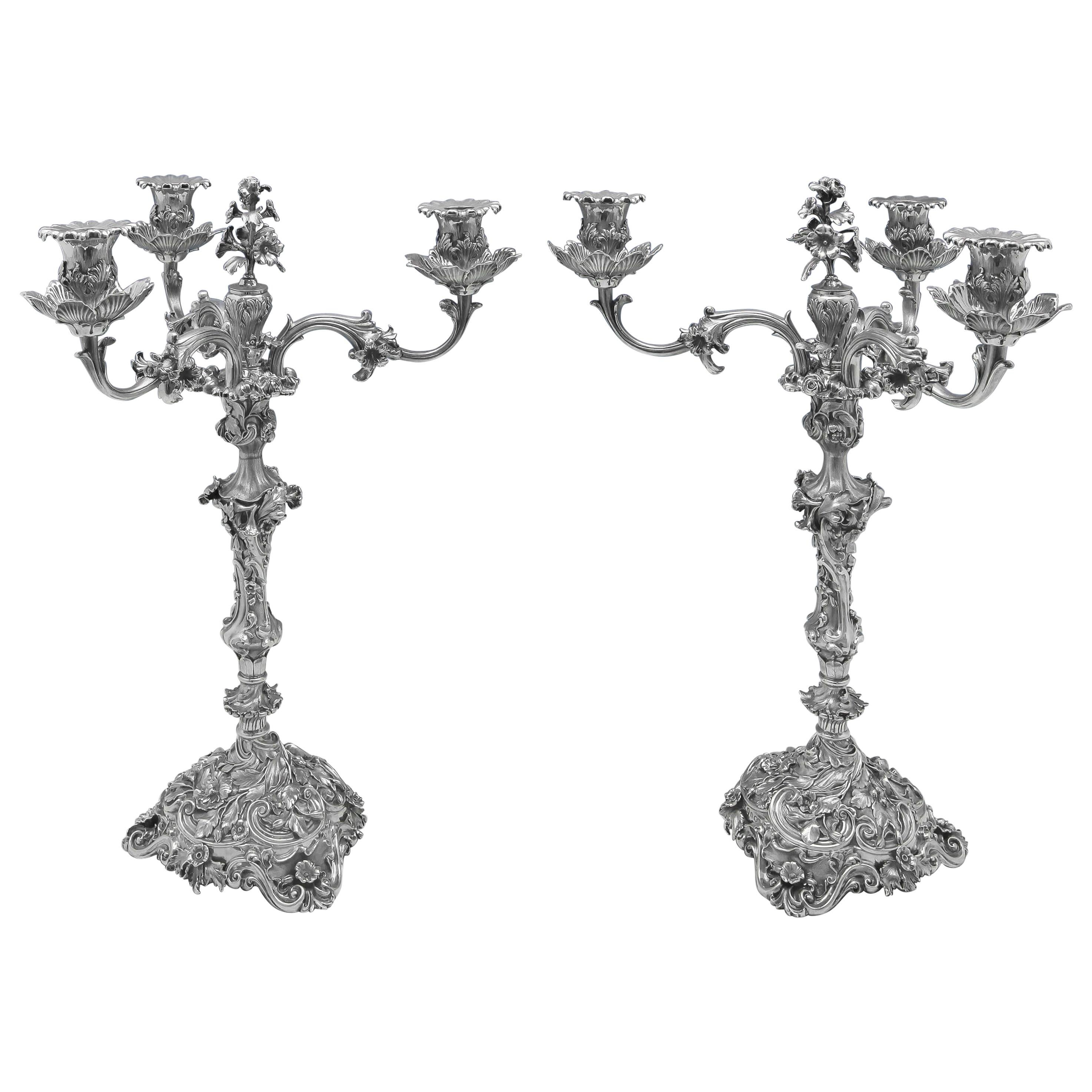 Rococo Revival Cast Antique Sterling Silver Pair Of Candelabra Weighing 250ozt