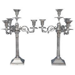 Corinthian Column Antique Four Light Pair Of Sterling Silver Candelabra