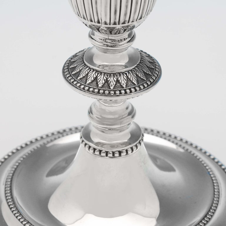 19th Century Victorian Neoclassical Revival Sterling Silver Pair of Candlesticks In Good Condition In London, London