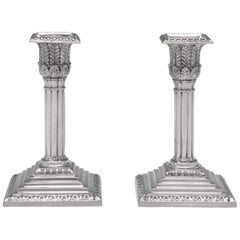 Bamboo Column Victorian Antique Sterling Silver Pair of Candlesticks from 1874