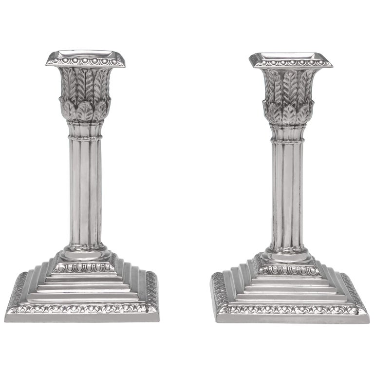 Bamboo Column Victorian Antique Sterling Silver Pair of Candlesticks from 1874 For Sale