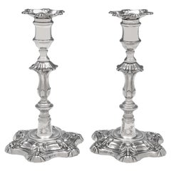 'Six Shell' George IV Antique Sterling Silver Pair of Candlesticks from 1828