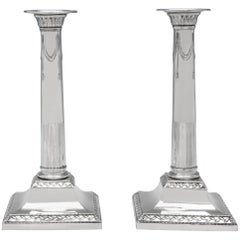 George III Neoclassical Antique Sterling Silver Pair of Candlesticks from 1790