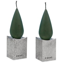 Mid Century Modern Pair of Bark Effect Sterling Silver Candlesticks