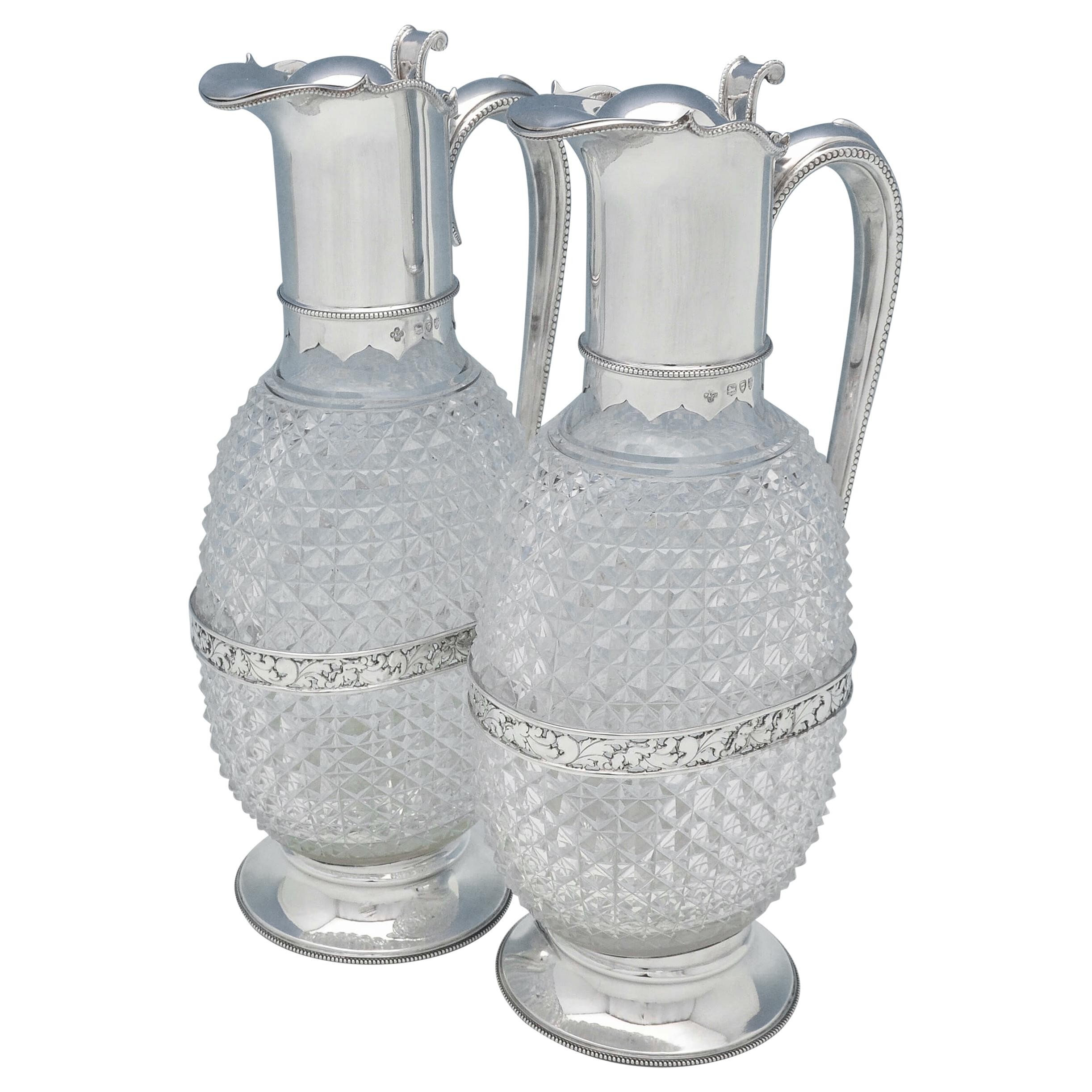 Victorian Antique Cut Glass & Sterling Silver Pair Of Claret Jugs from 1894