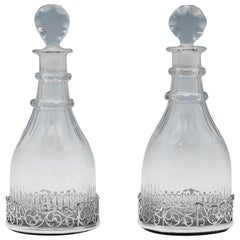 George III Antique Glass Pair of Decanters & Sterling Silver Pair of Coasters
