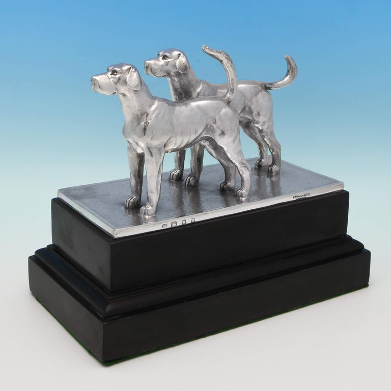 English Sterling Silver Pair of Dogs For Sale